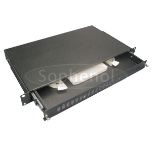 1U Sliding Fiber Optic Patch Panel with Rail, LC/SC/ST/FC Ports Available