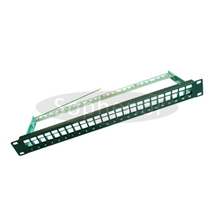 1U Blank Patch Panel 24 Ports Metal with Cable Support Bar
