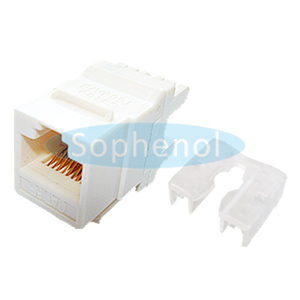 CAT5E UTP Keystone Jack 180 Degree White