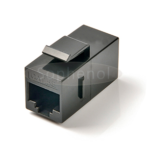 CAT5E UTP Inline Coupler RJ45-RJ45 Snap-in Slim Type Black