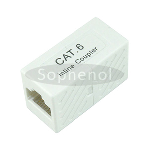 CAT6 UTP Inline Coupler RJ45-RJ45 Block Type White