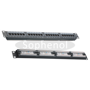 CAT5E UTP 24 Ports Patch Panel, Dual IDC, Black