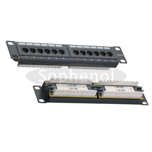 10 inch CAT5E UTP 12 Ports Patch Panel Dual IDC, Black