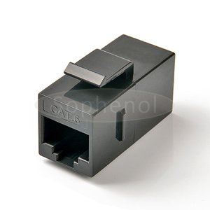 CAT6 UTP Inline Coupler RJ45-RJ45 Snap-in Slim Type Black
